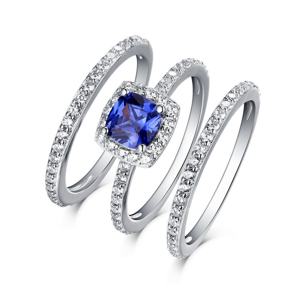 Cushion Cut 925 Sterling Silver Sapphire 3 Piece Halo Ring