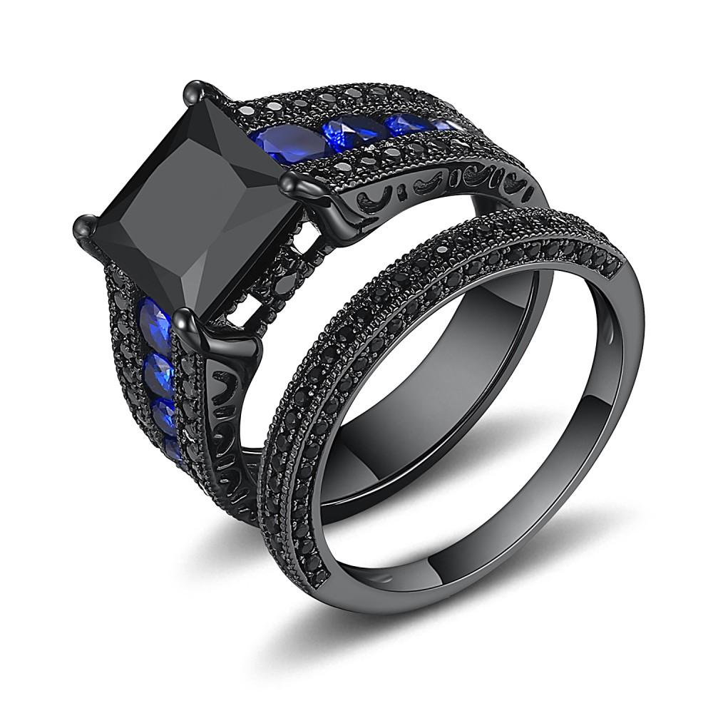 Black Princess Cut Black 925 Sterling Silver Engagement