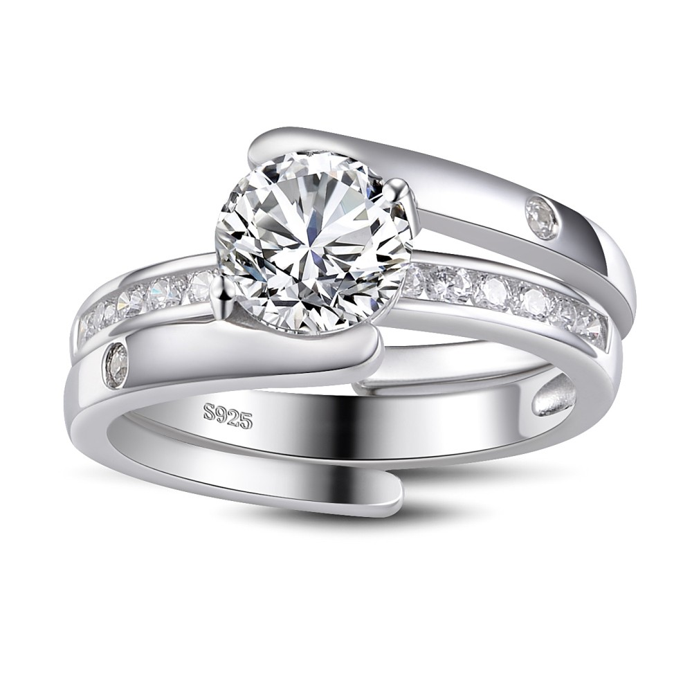 Unique Round Cut White Sapphire Sterling Silver Womens