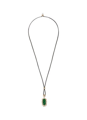 Saddle Top diamond jade 18k white gold pendant necklace