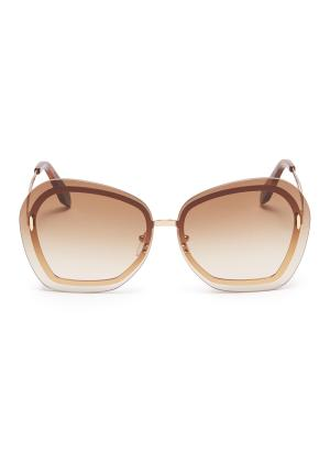 'Floating Butterfly' oversized angular metal sunglasses