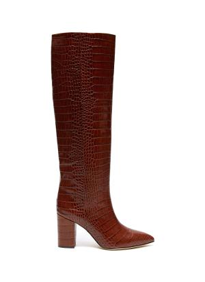 CROC EMBOSSED LEATHER KNEE HIGH BOOTS