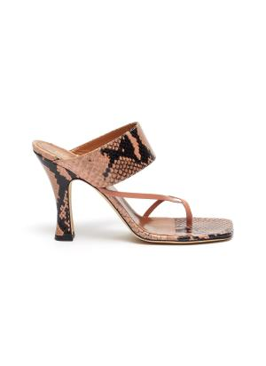 Snake embossed leather block heel criss cross thong sandals