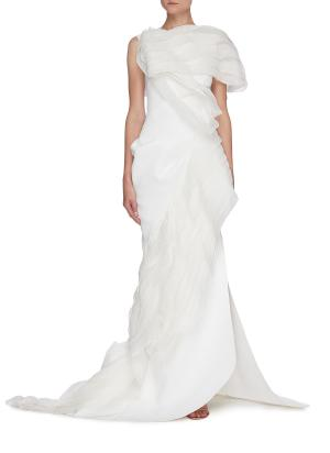 Serene' tulle drape side slit gown