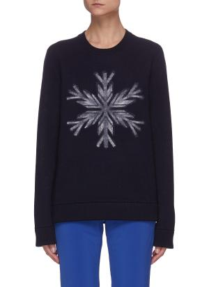 Snowflake Graphic Print Wool Sweater