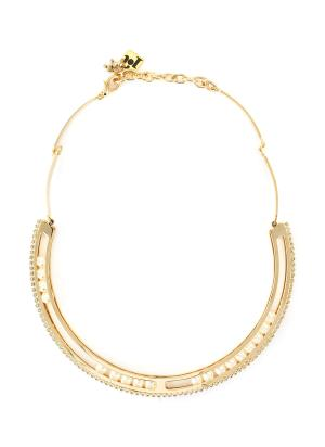 Biglie pearl embellishment crystal choker necklace