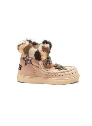 'Eskimo Short' star patches and mink fur kids winter boots