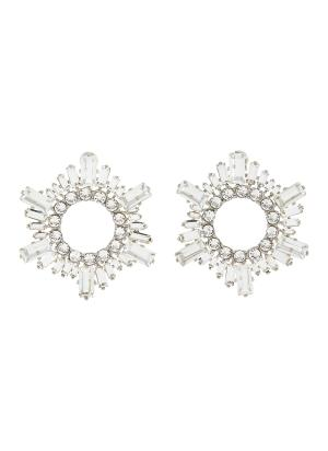 Begum' crystal embellished mini disk earrings