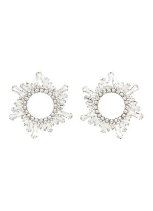 Begum' crystal embellished disk earrings