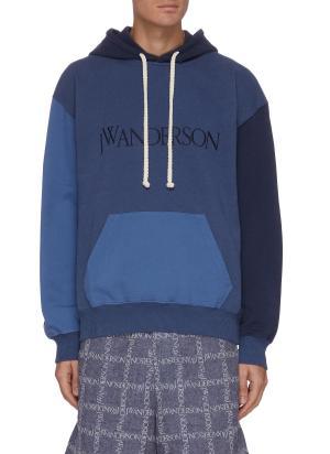 Colour block panelled hoodie