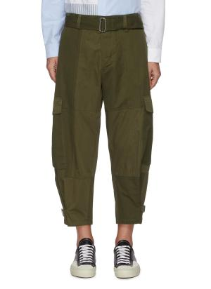 Belted D-ring Detail Patchwork Cargo Pants