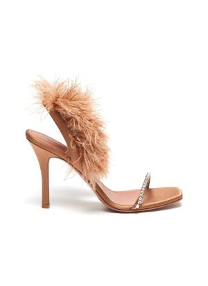 Adwoa' feather embellished sling back satin sandals
