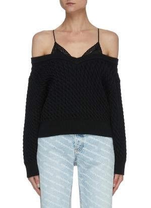 Camisole Detail Off-shoulder Cable Knit Sweater