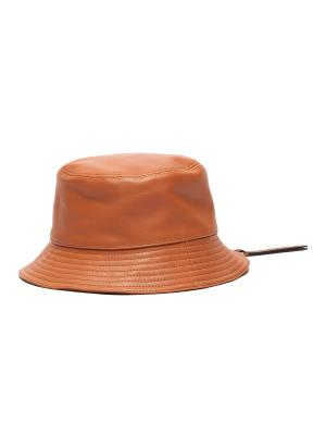 Logo Patch Leather Fisherman Hat