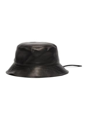 Zipped brim leather fisherman hat