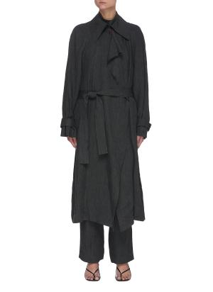 Oversize Belted Linen Trench Coat