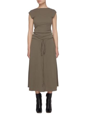 Draped drawstring waist dress