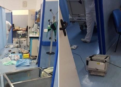 ospedale macchinari corsia distrutto violenza