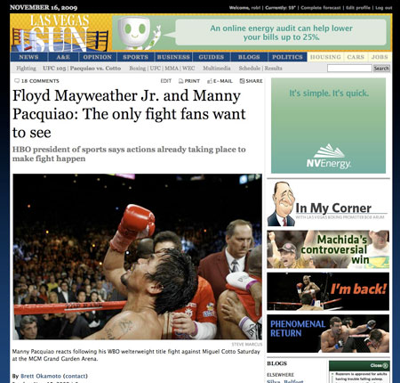 Las Vegas Sun coverage of Pacquiao-Cotto fight