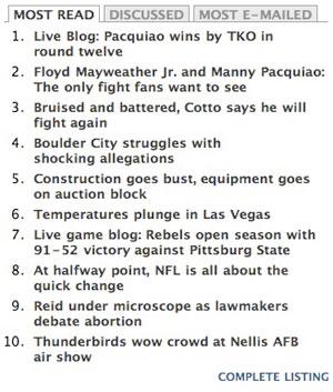Las Vegas Sun coverage of Pacquiao-Cotto fight