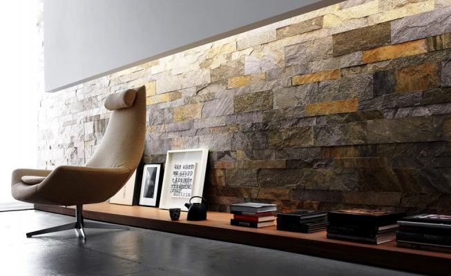Realizzazione della parete soggiorno effetto pietra sono lavori eseguiti da tahiraj erion. Parete Decorativa Salotto