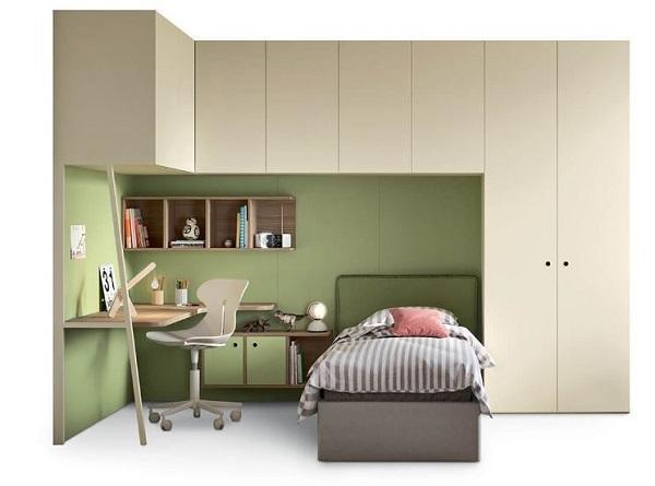 Pannelli decorativi per camera da letto; Cameretta Con Armadio A Ponte
