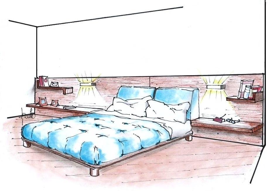 camera da letto matrimoniale con armadio scorrevole, letto con rete a doghe, comodini, comò e zona studio con pensili e mensole. Personalizzare La Camera Da Letto Idee D Arredo