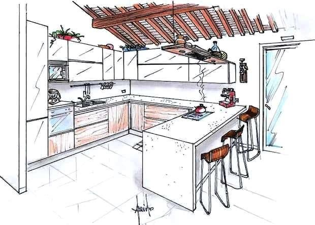 """Parola d'ordine """"open space"""", alcune interessanti idee per unire salone e cucina. Progetto Cucina E Soggiorno 40 Mq"""