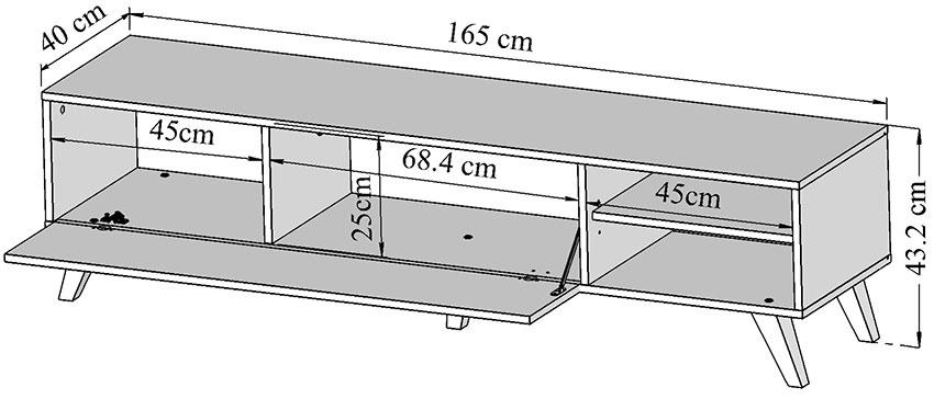 meuble tv scandinave chene blanc