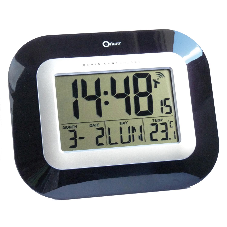 Orium Horloge Digitale Radio Contrle Noire Laque