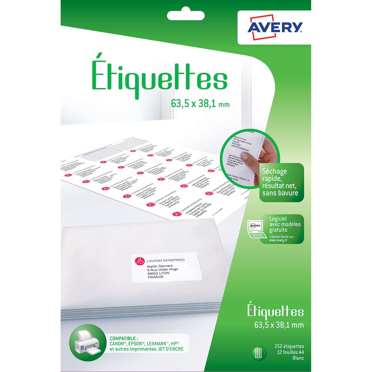 Avery Etiquettes Dadresse 635 X 381 Mm X 252