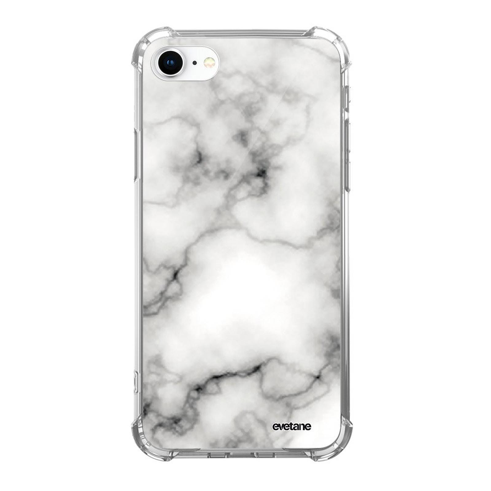 evetane coque iphone 7 8 iphone se 2020 anti choc souple angles renforces transparente marbre blanc coque telephone evetane sur ldlc com