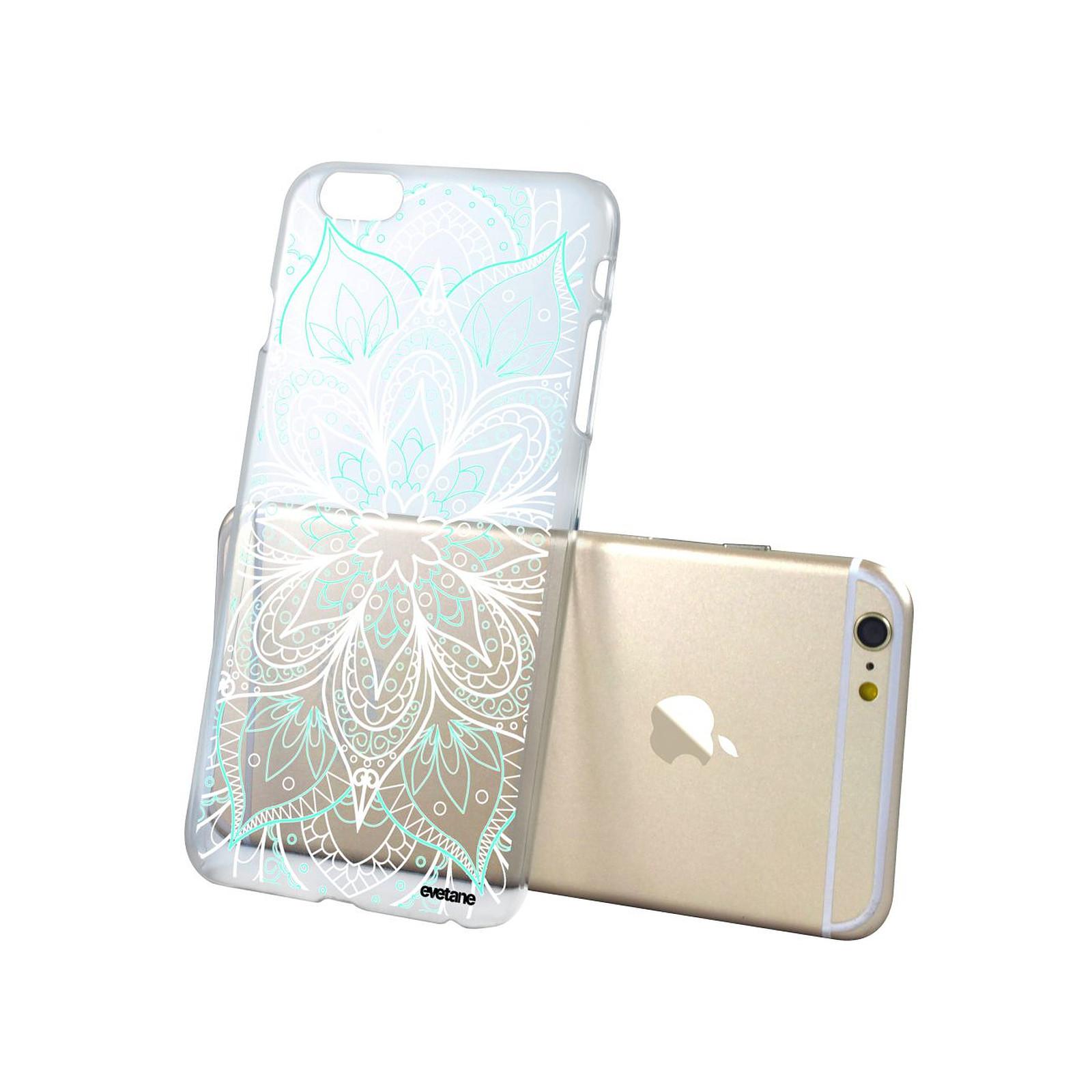 evetane coque iphone 6 6s rigide transparente mandala turquoise