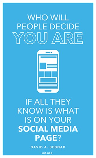 """A white smartphone icon combined with the quote, """"Who will people decide you are if all they know is what is on your social media?"""""""