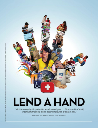 "A conceptual photograph of a compilation of service images formed into the shape of a hand, paired with the words ""Lend a Hand."""