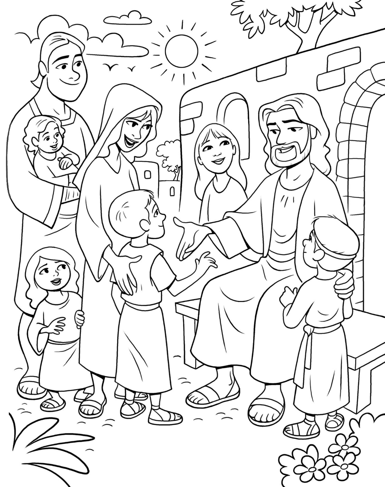 Jesus And Children Coloring Pages