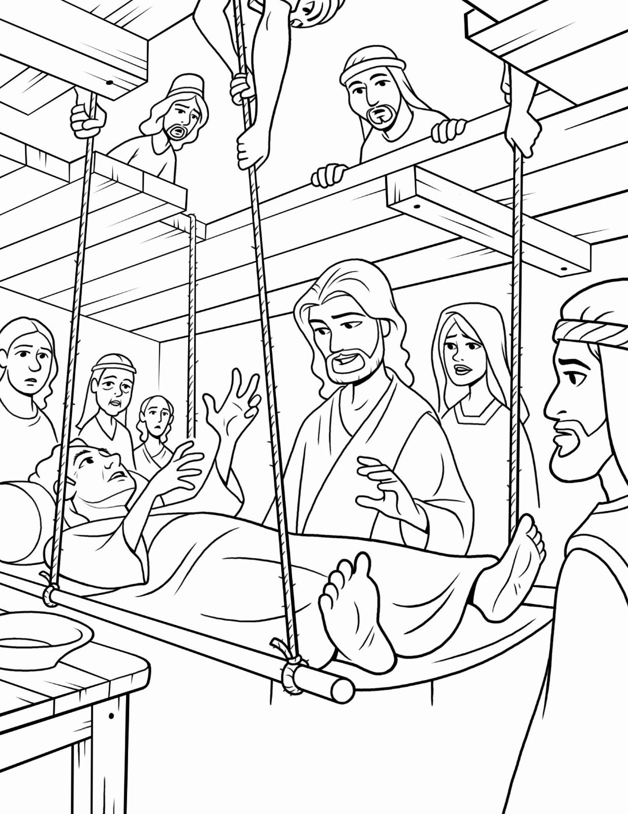 Jesus healing sick, jesus loves me printable coloring pages