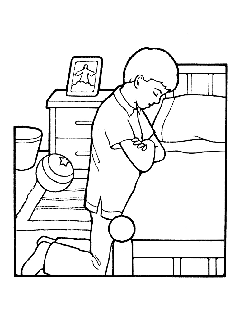 Child Praying Coloring Page