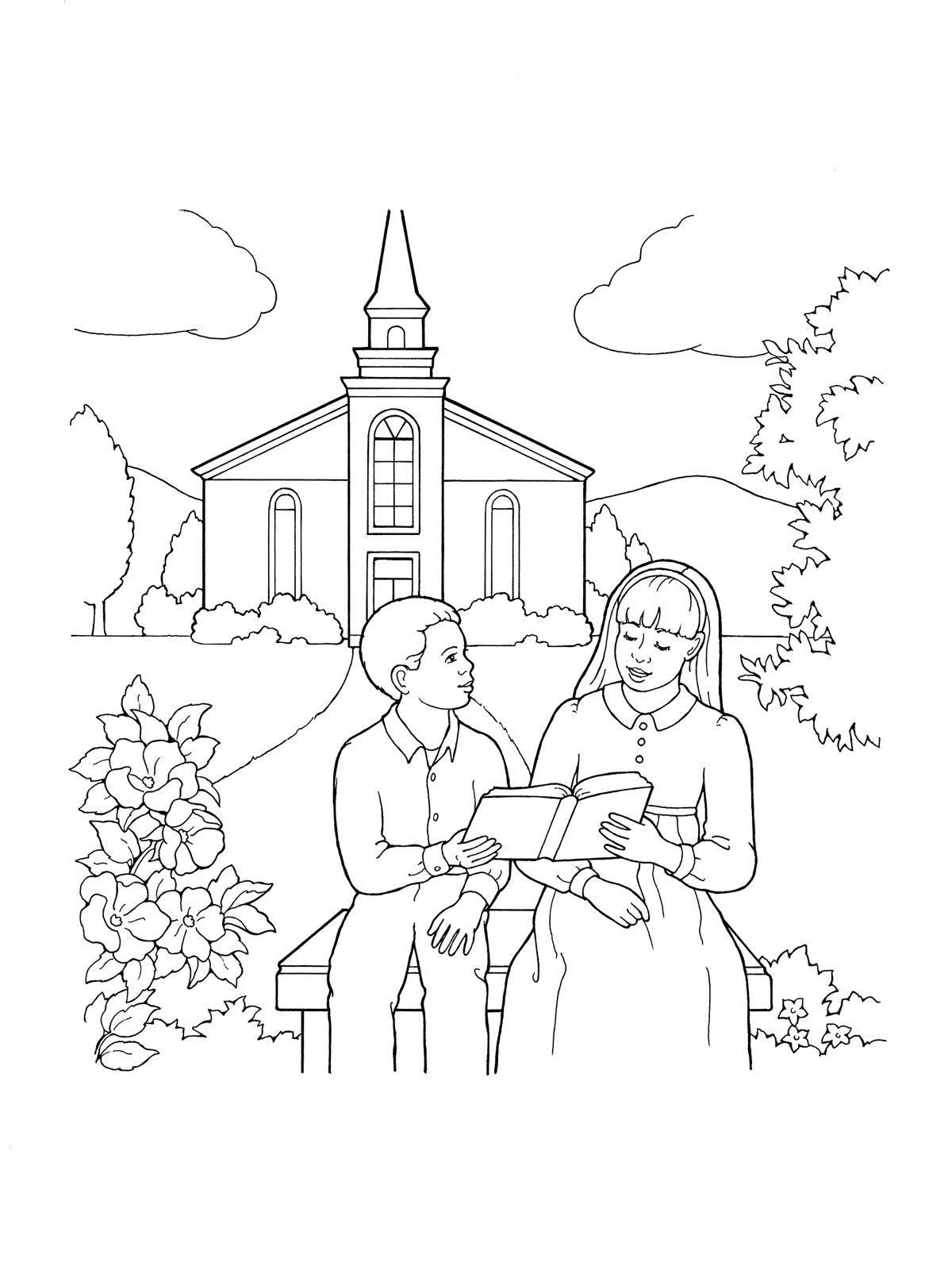 Children Reading By Church