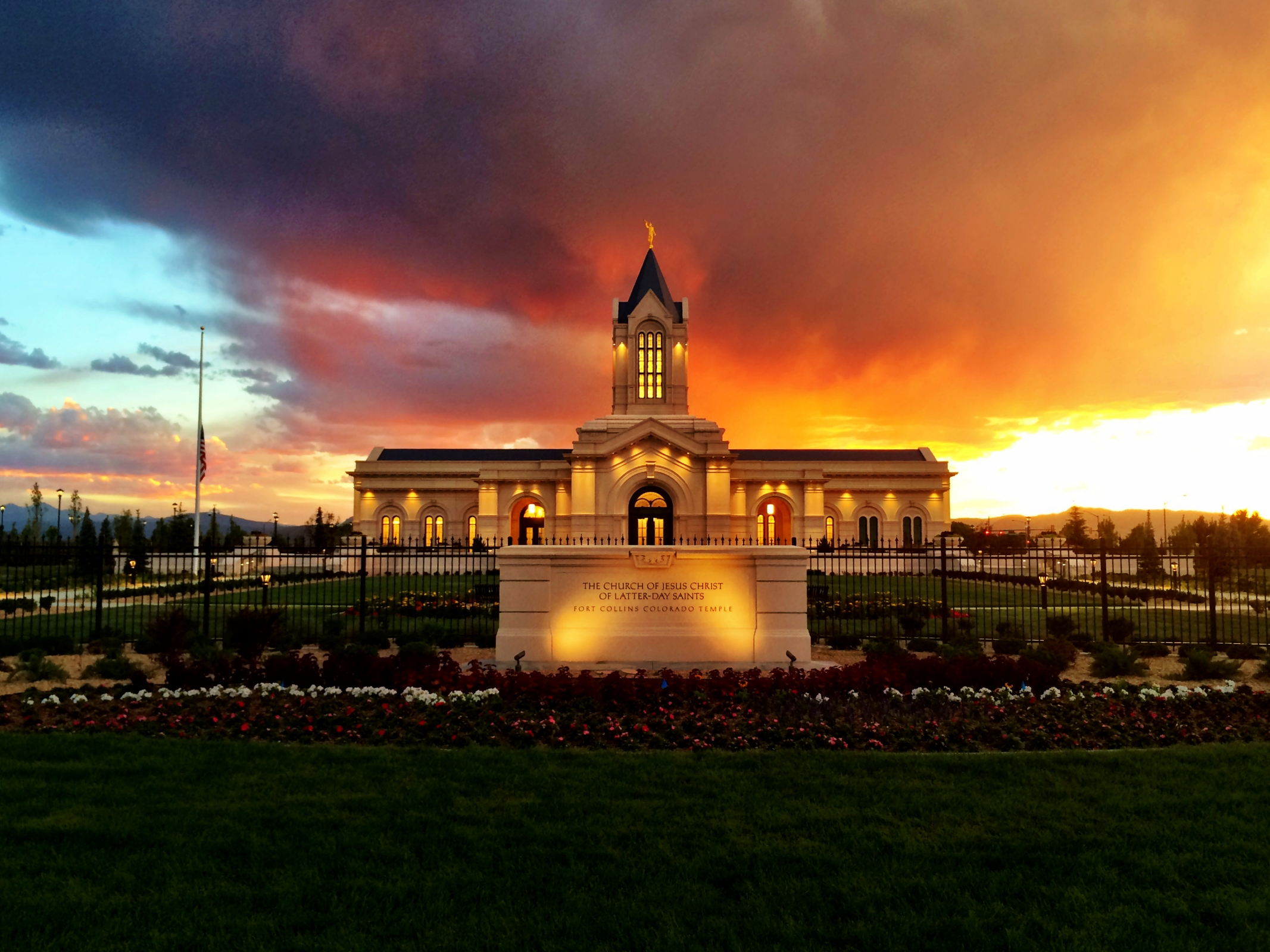 Fort Collins Temple At Sunset