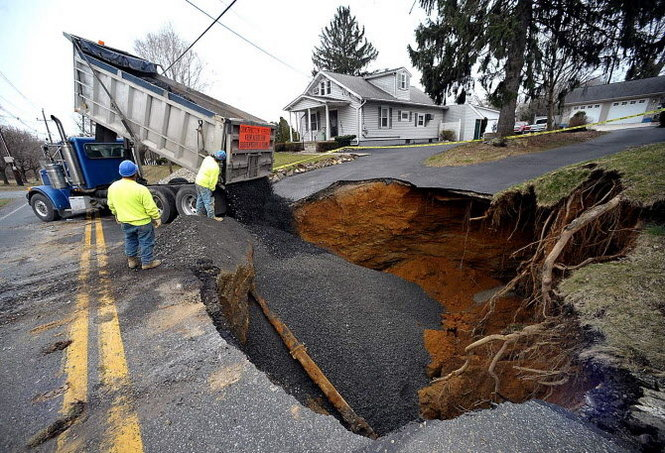 Sinkholes on Northwood Avenue in Palmer Township