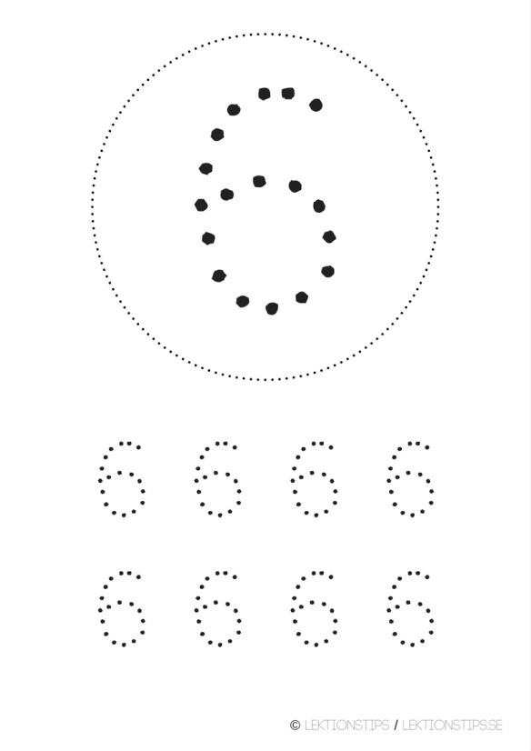 lektioner, lektionsmaterial, gratis lektioner, skolmaterial, knep och knåp, pyssel, stenciler, matte, matematik, mattestenciler, lära sig räkna, siffror, nummer, 6