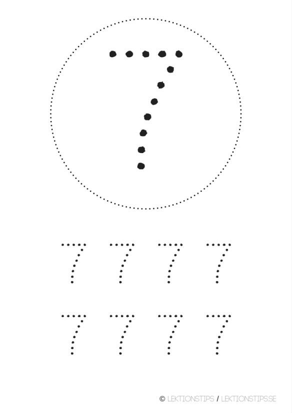 lektioner, lektionsmaterial, gratis lektioner, skolmaterial, knep och knåp, pyssel, stenciler, matte, matematik, mattestenciler, lära sig räkna, siffror, nummer, 7