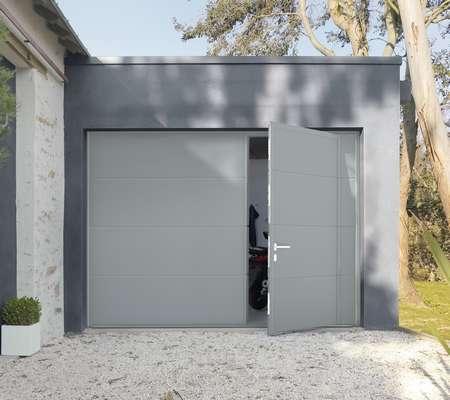 Porte De Garage Avec Portillon Motorisee Artens Premium 200x240 Gris Leroy Merlin