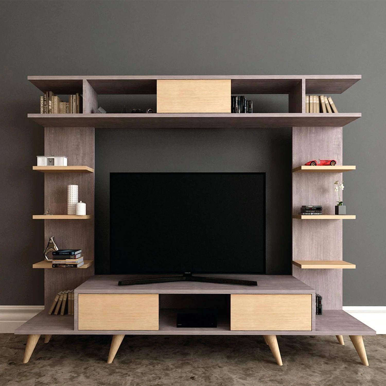 Arredare il soggiorno con librerie e scaffali. Mobile Per Tv Pan L 180 X H 135 X P 35 Cm Leroy Merlin
