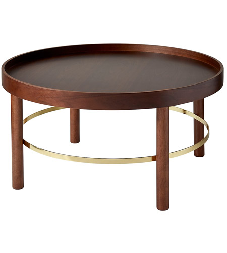 adesso wk2053 15 montgomery 30 x 17 inch walnut and shiny gold coffee table