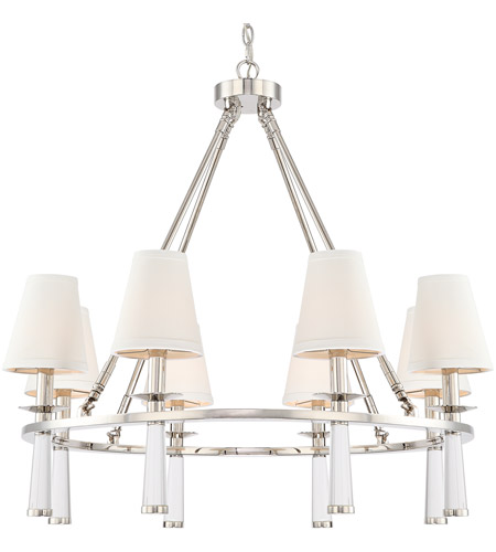 Crystorama 8867 Pn Baxter 8 Light 32 Inch Polished Nickel Chandelier Ceiling In