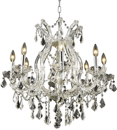 Elegant Lighting 2800d26c Rc Maria Theresa 9 Light 26 Inch Chrome Dining Chandelier Ceiling In Clear Royal Cut None