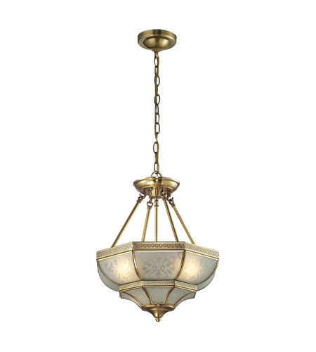 elk lighting french damask 3 light pendant in brushed brass 22006 3