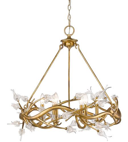 Golden Lighting 9942 6 Gl Aiyana Light 28 Inch Gold Leaf Chandelier Ceiling